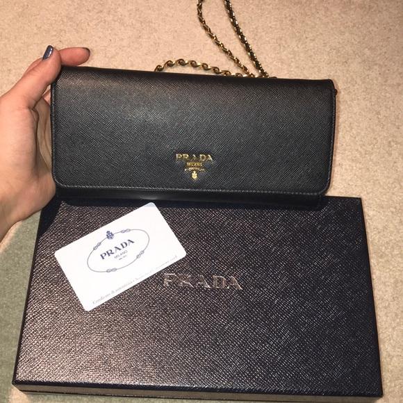 945979db1c72 Prada Bags | Saffiano Leather Walletonchain In Black | Poshmark